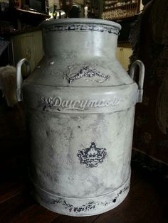 Vintage milk can, chalk paint, iod mould and stamps