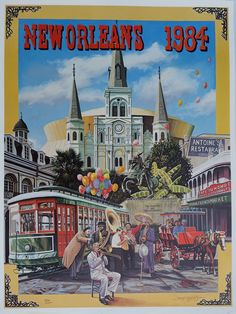 New Orleans Vintage Poster 1984 By: Artist Brad Thompson, Antoine's Restaurant Street Car, St. Louis Cathedral, Pete Fountain, Superdome by BrotherTheo on Etsy