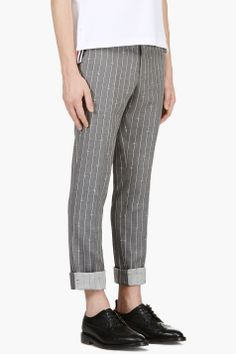 THOM BROWNE Grey Anchor striped Trousers
