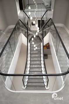 Painted T-shaped stairs with a carpet runner and glass balustrade - Kinsley Houlridge Luxury Staircase, Double Staircase, Staircase Handrail, Staircase Ideas, Grand Staircase, Staircases, Home Stairs Design, Home Room Design, House Design