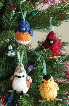 Knitting Pattern for Four Calling Birds Ornaments - Four songbirds 2 1/2″ tall x 2″ wide. Designed by Megan Kreiner for Interweave.