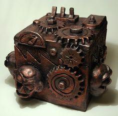 Ceramic  Steampunk box by Michael Rush  High School project.
