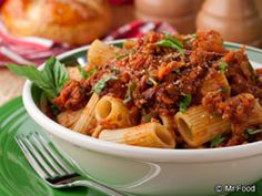 Turn your kitchen into an Italian restaurant with our easy version of the classic Rigatoni Bolognese. This hearty meat sauce packed with flavorful veggies over rigatoni pasta will do you proud!   Read more at http://www.mrfood.com/Beef/Rigatoni-Bolognese#qlQWIAuGZ6bswVWj.99