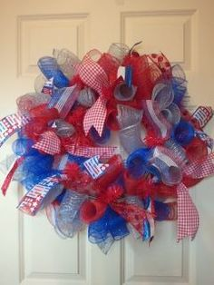 A salute to our flag! Red /silver /blue tubes with five different kinds of ribbon.