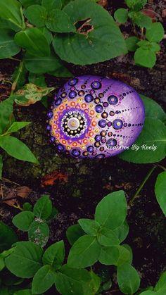Purple Dream Catcher Mandala Stone