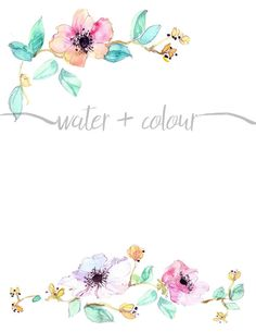 downloadable watercolor floral border for invitations, cards and stationery It comes in a large .png file for your editing purposes.