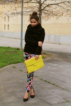 Floral pants + neon