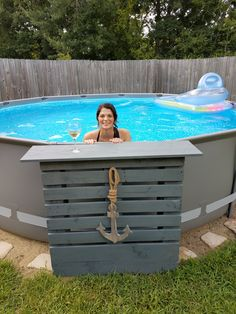 Above Ground Pool Decks, Above Ground Swimming Pools, In Ground Pools, Backyard Pool Landscaping, Small Backyard Pools, Pool Deck Plans, Outside Pool, Casa Patio, Diy Pool