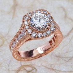 Vintage 14k Rose Gold Diamond Engagement Ring-Milligram Wedding Ring Halo Diamond Ring