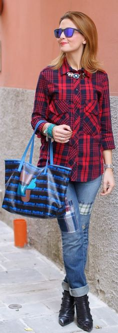 Plaid Shirt and patches. Like the touch of bling.