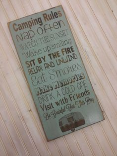 Camping sign Camper Decor Primitive Rustic Vintage by Wildoaks