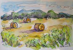 Sketchbook Wandering: Backroads of Maine. Haystacks