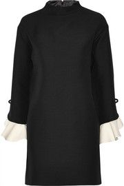 Valentino:Ruffled wool and silk-blend mini dress