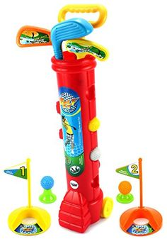 Velocity Toys Lil Golfers Childrens Kids Toy Golf Play Set w 4 Balls 3 Clubs 2 Practice Holes 2 Flags 2 Tees Colors May Vary -- Click image for more details.Note:It is affiliate link to Amazon.