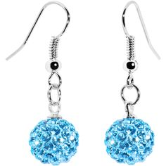 10mm Aqua Austrian Crystal Ferido Ball Drop Earrings