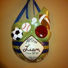 Painted Baby Belly Cast Would just do baseball!  But love the homeplate idea!