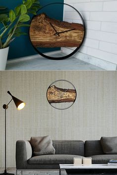 Unique Wall Clock the Best Design for Your Home. The natural structure and bark of the wood is interesting for your interior. #woodwallclock #liveedgewoodslab #clocksforwall #farmhousewallclock #farmhousewalldecor #kitchenwallclock #bigclock #farmhouseclock #largewallclock #liveedgeclock #minimalistclock #modernwallclock #modernwoodclock #naturalwoodclock #rusticwallclock #uniquewallclock #uniquewallclocks #woodenclock #woodenwallclock #woodslab #loftdesign #loftdecor #loftinterior Farmhouse Wall Decor, Country Decor, Minimalist Clocks, Kitchen Wall Clocks, Country House Interior, Loft Interiors, Unique Wall Clocks, Wooden Walls, Design