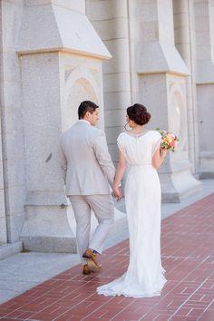 LatterDayBride Knightly Dress | Modest Wedding Dress | Real Wedding | Salt Lake Temple Wedding | LDS | Modest Bridesmaid Dresses