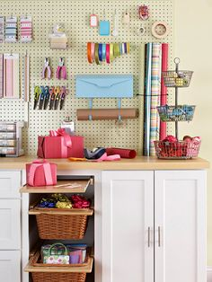 Pegboard Gift Wrapping Storage Center from BHG