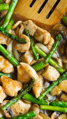 Healthy Ginger Chicken Stir-Fry with Asparagus recipe. Re-pin now, check later.