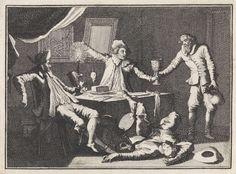 Caspar Luyken | In een spookhuis biedt een oude man drie studenten drank aan waarna er een dood neer valt, Caspar Luyken, Christoph Weigel, Frantz Martin Hertzen, 1710 |