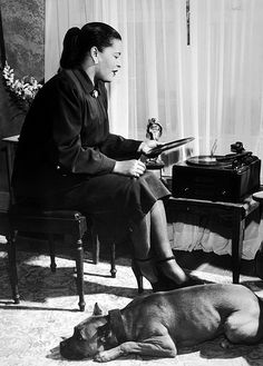 thisisaadl:  vintagegal:  Billie Holiday at home with Mister c. 1945  More Ms. Holiday…