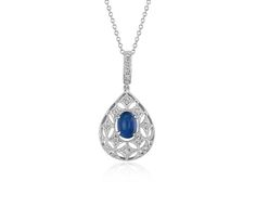 Sapphire Cabochon and Diamond Drop Pendant in 18k White Gold | #Jewelry #Style #Fashion