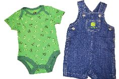 John Deere Newborn 2 Piece Denim Layette Set only for $26.99 John Deere Baby, Cow Print, Baby Store, Onesies, Kids Fashion, Baby Boy, Rompers, Denim, Blue