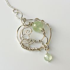 ENTWINED  Bright Sterling, Prehnite and Quartz Necklace. $185.00, via Etsy.
