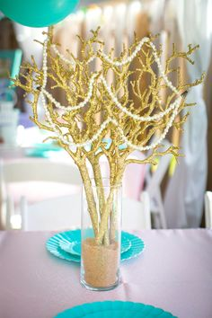 Gold coral centerpiece from a Mermaid Birthday Party on Kara's Party Ideas | KarasPartyIdeas.com (8)