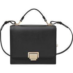 Smythson Grosvenor Small Shoulder bag ($1,195) ❤ liked on Polyvore featuring bags, handbags, shoulder bags, black, smythson handbags, flap purse, smythson, pocket purse and black shoulder bag
