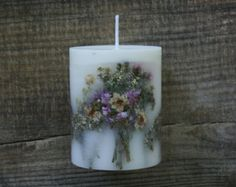Handmade Flower Candle Unique Soy Wax Candle by Lillinflame
