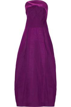 Donna Karen Satin-trimmed wool-blend gown