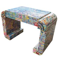 Decoupage desk with Comic Strips