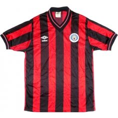 1984-86 MCFC Red and black stripes away shirt