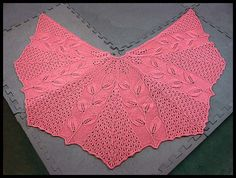 """In Spring Shawlette"" 3/4-circular 6-panel shawl knit in Peony fingering weight yarn (100% Peruvian Highland wool), 51""W x 25""L (pattern by Tiziana Sammuri), $120."