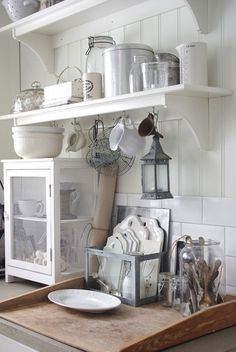 Pie safe, open shelves. Love the use of subway tile and shiplap too. #shabbychic #piesafe