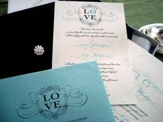 Tiffany Blue and Black wedding invitations
