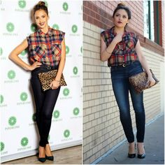 Jessica Alba Inspired ( Plaid, leopard and top knot) - Ashes into Fashion