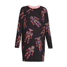 Black Robot Print Dress (€456) ❤ liked on Polyvore featuring dresses, long sleeve zipper dress, long sleeve print dress, print dress, pattern dress and black zipper dress