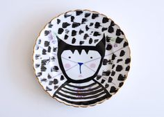 Cat with a striped tee plate mixed media by Ninainvorm on Etsy