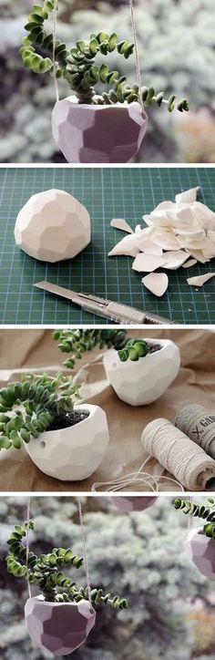 DIY Faceted Plant Pots ~ Formed from self-hardening (air-dried, non-firing) modeling clay. *These clays are all different - check water content & percent of shrinkage on package first. While clay is soft, shape facets by cutting & use a straw to make 2 hanger holes. Pot is air-dried, interior is coated with 2 coats water-proofing sealant (clear polyurethane outdoor/marine spray sealant). (Polymer clay [not Sculpey] that's heated to cure is waterproof.) #houseplants