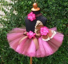 Baby Tutu Fairy Wings  Brown Fuchsia Pink Gold  by TiarasTutus, $52.00