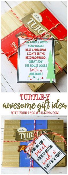 """Turtle-y AWESOME gift idea! A cute and simple gift idea to give this holiday season. Just attach the tags for a """"sweet season"""" or to award to the """"best Christmas lights in the neighborhood! Best Christmas Lights, Christmas Love, Christmas And New Year, Christmas Holidays, Christmas Ideas, Christmas Express, Burlap Christmas, Christmas Traditions, Winter Holidays"""