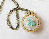 Hand Stitched Pendant, Floral Embroidery Hoop Necklace, Embroidery Hoop Jewelry, Gift for Women