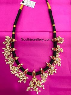 Black Dori Guttapusalu Necklace and Haram - Indian Jewellery Designs Indian Jewellery Design, Latest Jewellery, Indian Jewelry, Jewelry Design, Designer Jewelry, Jewelry Model, Wedding Jewelry, Gold Jewelry, Silver Bracelets