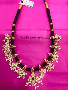 Black Dori Guttapusalu Necklace and Haram - Indian Jewellery Designs Indian Wedding Jewelry, Indian Jewelry, Bridal Jewelry, Beaded Jewelry, Gold Jewelry, Thread Jewellery, Pearl Jewelry, Saree Jewellery, Diy Jewellery