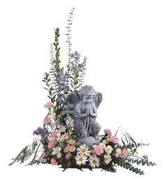 unique funeral flowers   Pastel Dreams with Angel - TF220-1 ($110.66)