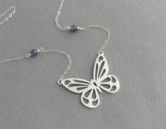 Butterfly Necklace - Sterling Silver with Amethyst Necklace Pendant Butterfly Jewelry, Butterfly Pendant, Butterfly Necklace, Butterfly Ring, Cute Jewelry, Jewelry Crafts, Handmade Jewelry, Silver Pendants, Sterling Silver Necklaces