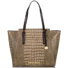 The Brahmin Tori Tote in Taupe Sienna is a structured tote that adds instant polish to your wardrobe